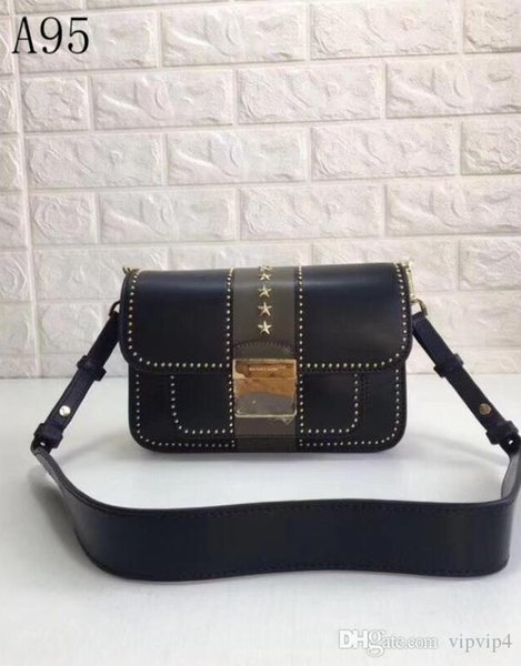 Explosion models the latest ladies leather shoulder retro rivet tide bag rivets stars modern wild women's Milan fashion week high quali