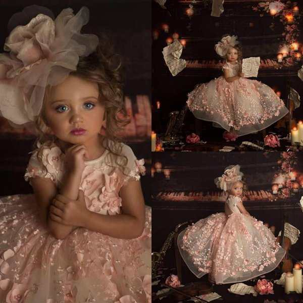 2019 Pink Princess Flower Girls Dresses for Wedding Jewel Neck 3D Floral Bead Kids Pageant Dress Ball Gown Toddler Communion Gowns