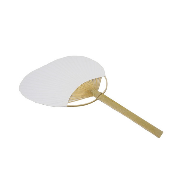 Large Paper Fan with Bamboo Handle Two Sided Blank Fans DIY White Round Hand Fans WB131