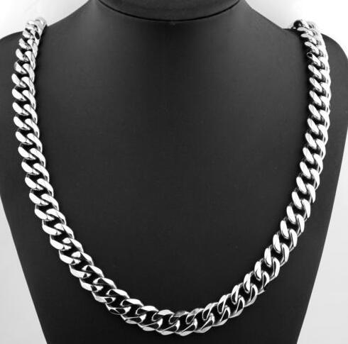 18k позолоченные 316L нержавеющей стали тяжелое звено серебро Снаряженная кубинская цепь мужчины ожерелье 24