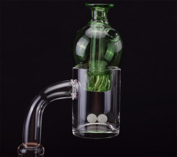 OD25mm Cuarzo Banger con perlas de vidrio Carb Spinning Cap 10mm 14mm18mm 45/90 Uñas para vidrio Agua Bongs Tubos Dab Rigs