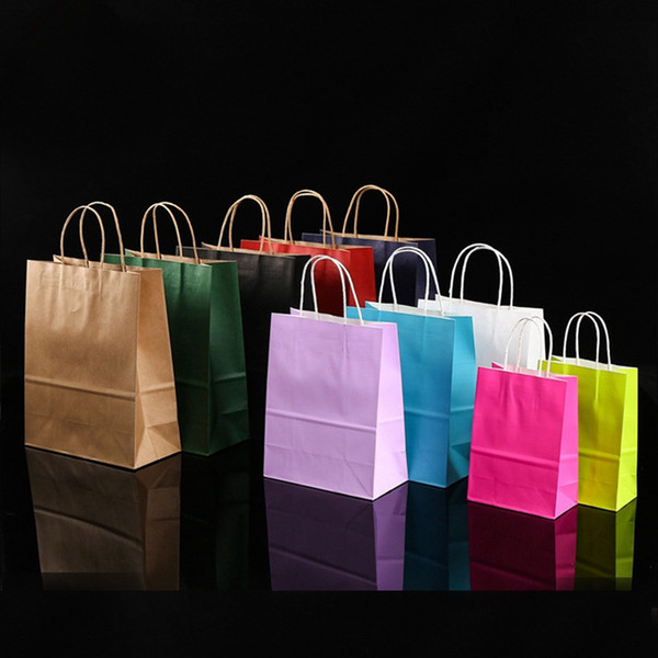 best selling Kraft Paper Bag Multi Color and Multi-functional Retail Bag Recyclable Portable Gift Bags with Handle for Shopping Party