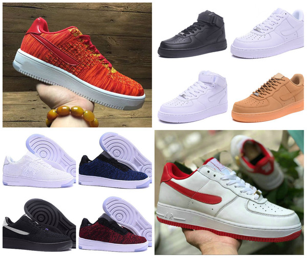 2019 Cheap Forces Herren Low Skateboard Schuhe One Unisex 1 Knit Euro Air High Forced Damen All Triple Weiß Schwarz Rot Sport Sneakers