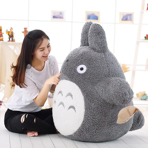 Japan Anime Totoro Plush Doll Giant Stuffed Cartoon Totoro Toy Pillow for Childen Birthday Gift Deco 100cm 80cm DY50569