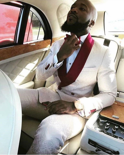 Custom Besigne Ivory Paisley Men Wedding Tuxedos Red Shawl Lapel Double-Breasted Novios Tuxedos Men Dinner / Darty Suit (Jacket + Pants + Tie) 62