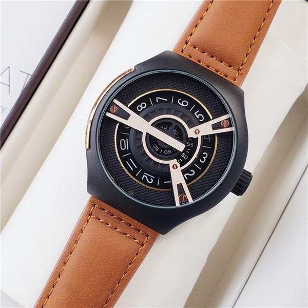 Wholesale Men Fashion Luxury Watch Brown Black Leather Strap 48mm SF Men Designer Watches Quartz Movement Sport Wristwatch Gift Clock