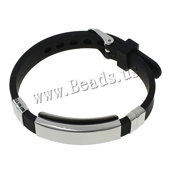 Free shipping Men Black Silicone Cuff Bangle Cool Punk Friendship Bracelet Stainless Steel Adjustable Wristband for Womens Man