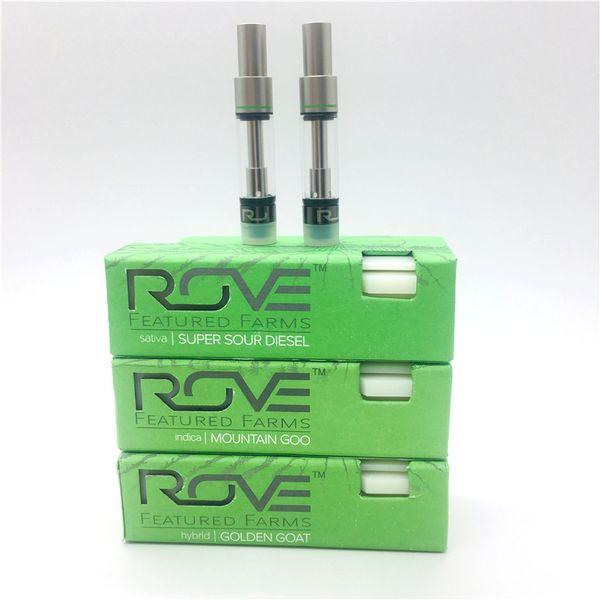 Green Rove Vape Cartridges Упаковка 0.8 мл Керамическая катушка Пустой картридж Vape Pen Пустой стакан Pyrex Густое масло 3 Упаковочные коробки с ароматизатором Распылитель