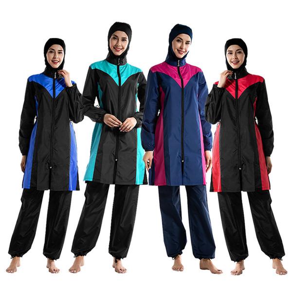 S012 été musulman conservateur dames maillot de bain pantalon à capuchon trois pièces élégante mode maillot de bain de mode