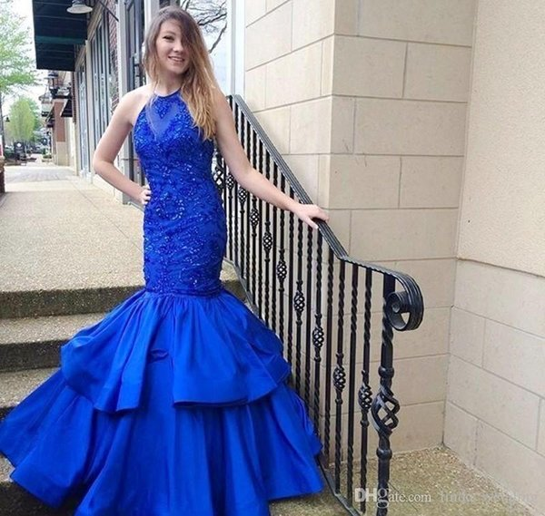 2019 Luxury Blue Color Jewel Sleeveless Evening Dress Mermaid Ruffle Tiered Long Formal Holiday Wear Prom Party Gown Custom Made Plus Size