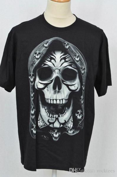 Mens Black Printed T-Shirt Gothic Rock Biker Skull Tribal Glow In Dark S 3XL 100 % Cotton T Shirt For Boy
