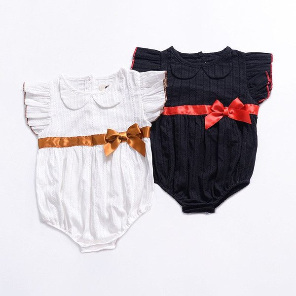 Baby Jumpsuits INS Summer 2019 New Girls Fly Sleeve Solid Color Bowknot Triangle Pants Infant Rompers Newborn Romper Kids Clothing Q80