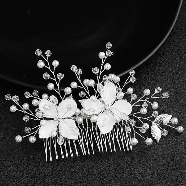 Yeni Moda Çiçek Kristal Saç Combs Klipler headpieces Kadınlar Noiva Gelin Gelinlik Parti Veil Dekoratif Takı