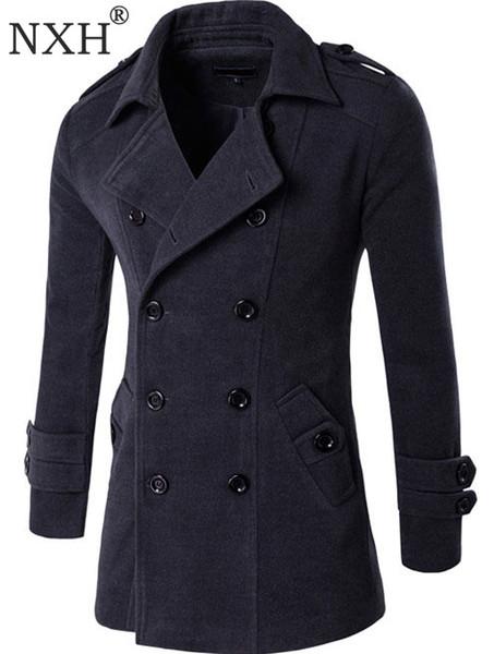 NXH 2018 Otoño Invierno Chaqueta de los hombres Abrigo de lana Estilo de Inglaterra Doble botonadura Marca de moda Para hombre outwear abrigo Mezclas de lana