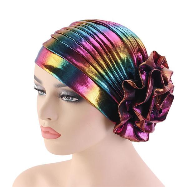 Polyester Rainbow Turban Muslim Hijab Big Flower Headscarf Hats Indian Caps Women Headwear Headwrap 30 Pieces DHL