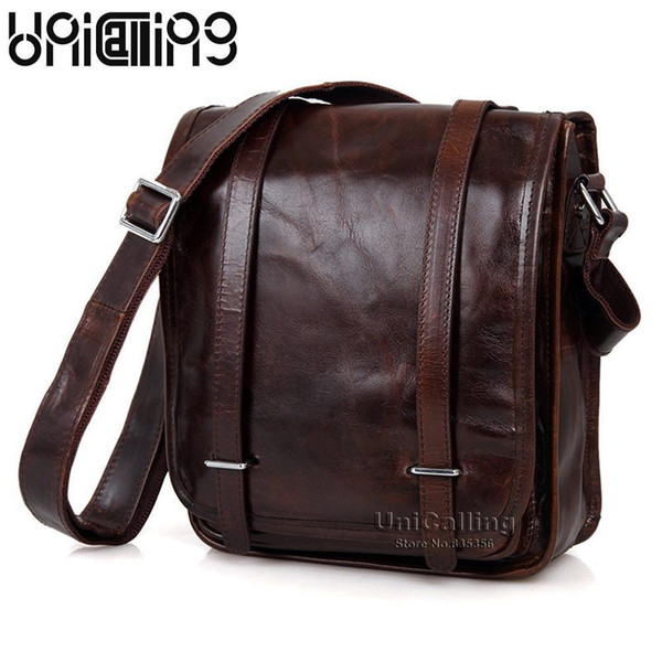 Unicalling Fashion Brand Vintage Genuine Leather Men Messenger Bag High-end Real Leather Men Bag Tablet Shoulder