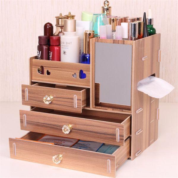 Urijk DIY деревянная коробка для хранения макияж организатор ювелирные изделия контейнер деревянный ящик организатор handmade косметическая коробка хранения