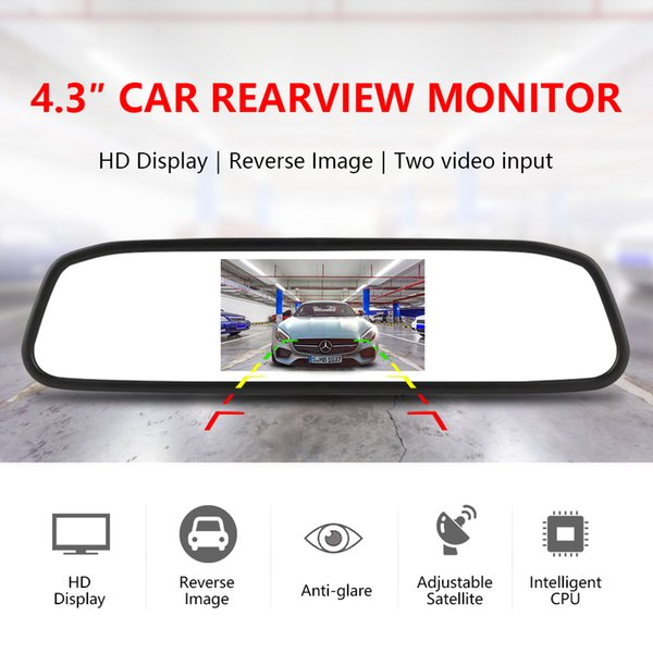 Chinatown68 HD car display 4.3 inch car monitor for rear view camera reverse image Parking Assistance 2 Video Input Parking Mirror