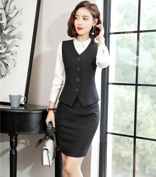 Formal Women Business Suits Skirt and Top Sets Work Wear Ladies Waistcoat & Vests Black OL Style