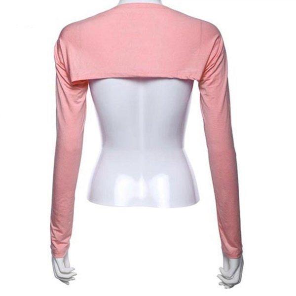 Femmes solides en coton stretch One Piece épaule manches Bras de protection solaire Couverture