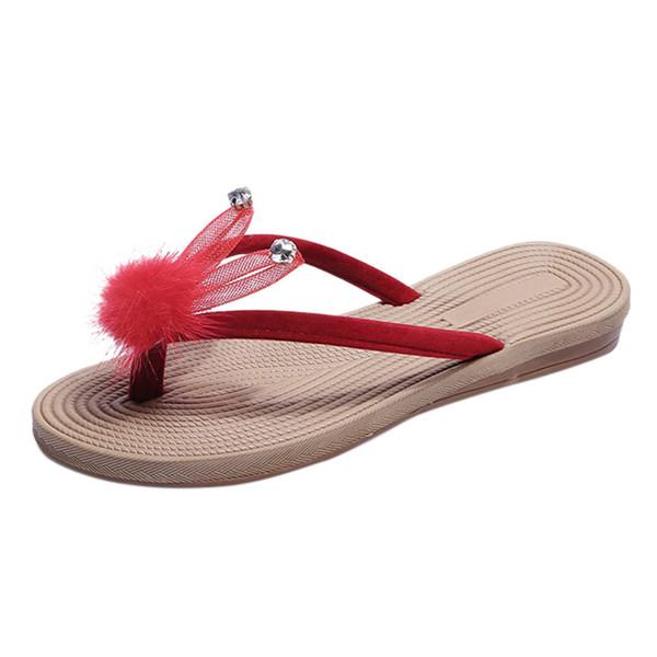 Women Ladies Summer Crystal Cartoon Flip Flops Slippers Beach Sandals Shoes Flat non-slip slippers outdoor chaussures femme#g7