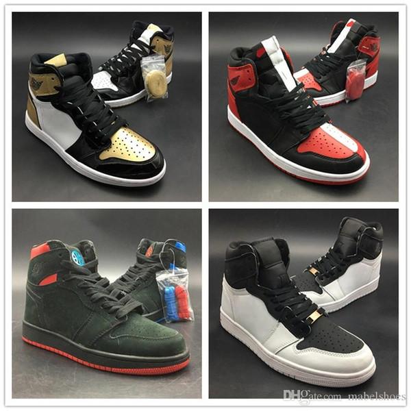 TOP 3 Siyah Beyaz Kırmızı Mavi Altın Yeşil Mens 2019 Moda Tasarımcısı Kişilik Spor Spor Ayakkabılar 1s Basketbol Ayakkabı