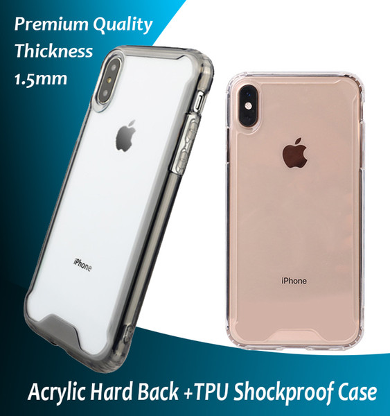 top popular Clear Acrylic TPU Shockproof Case for iPhone 7 8 Plus XR XS MAX Samsung S9 S10 Plus Note 9 10 10+5G Huawei P30 2019