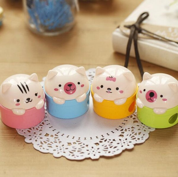 cute lovely double holes pencil sharpeners cartoons pigs manual plastic mini pencil cutter knife children gifts korean stationery