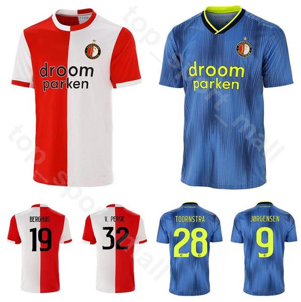 2019 2020 Feyenoord Jersey Roterdão De Futebol 32 PERSIE 19 BERGHUIS 28 TOORNSTRA 9 JORGENSEN 10 VILHENA Camisa De Futebol Kits Uniforme Vermelho Azul