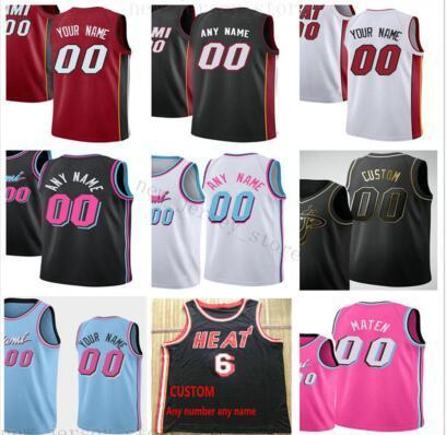 Stampa personalizzata Miami Heat maglie superiore 2020 Jersey Bianco Rosso Rosa Nuovo Blue City nero. Messaggio Ogni numero e il nome sull'ordine.