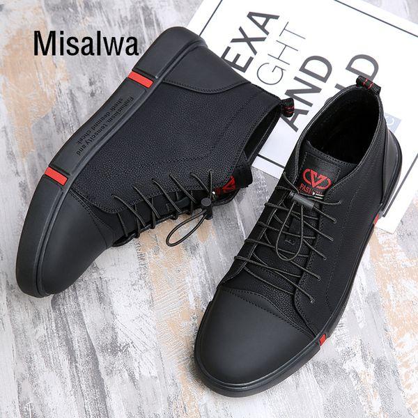Misalwa Mode Chaussures d'hiver en cuir Casual Hommes court peluche Bottes chaud Noir Corée Bottines Hommes anti-dérapant à lacets