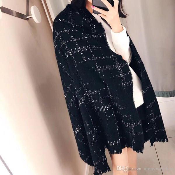 écharpe en laine pour femme designer châle design écharpe cape fashion hiver écharpe à carreaux 65 * 180 pour femme