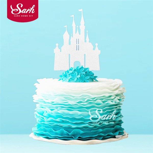 3PCS Bling Gold Sliver Romantic Princess Castle Cake Topper with Plasticstick Cake Decoration Wedding Birthday Party Gifts