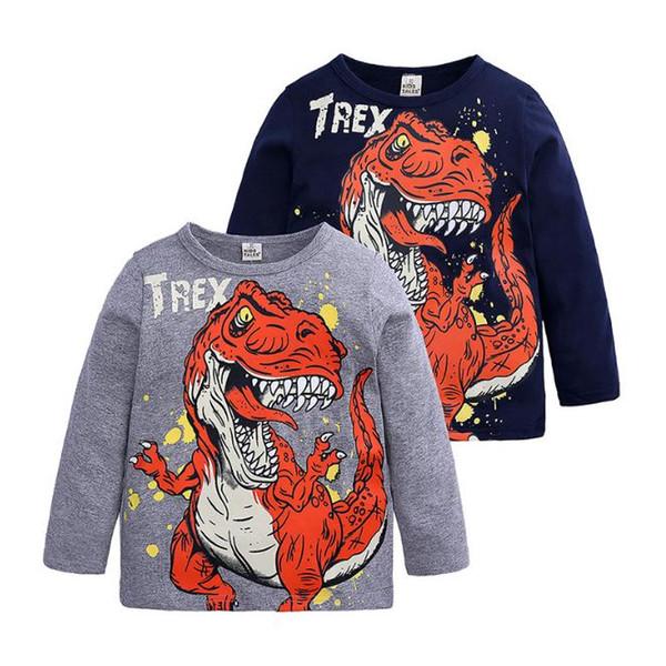 Camiseta para niños Dinosaurios de dibujos animados para niños Camiseta de manga larga Spring Boy Camisetas para niños Ropa de cuerpo entero de algodón Top