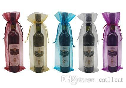 Sheer Organza Wine Bags 5.5x14.5 inch Reusable Simple Bottle Wrap Dresses Festive Packaging Baby Shower Wedding Favors Samples Display Draws
