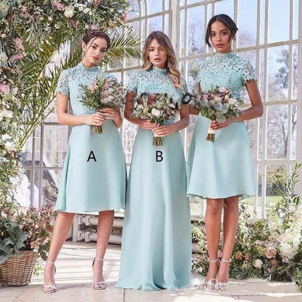 Mint Green Short Bridesmaid Dresses High Neck Lace Chiffon Custom Bohemian Country Beach Maid of Honor Wedding Party Dress