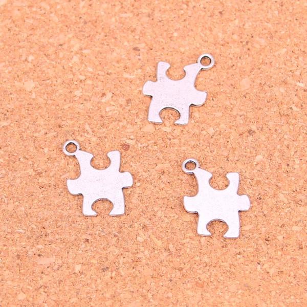 156pcs morceau de puzzle de l'autisme Charms conscience Antique Argent Plaqué Pendentifs Faire la main bricolage bijoux en argent tibétain 20 * 14mm