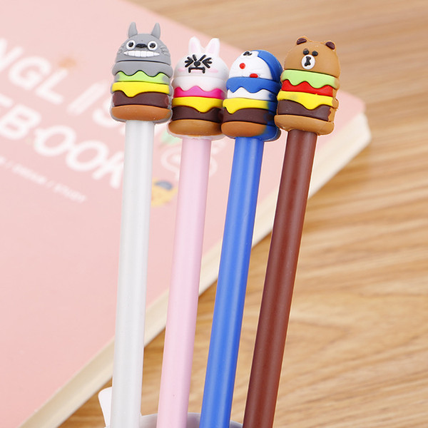 40 Pcs Cute Hamburger Animal Cartoon Creative Chinese Pen Student Stationery Chinchilla Signature Pen Wholesale