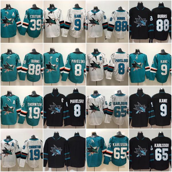 2019 San Jose Sharks 8 Joe Pavelski 65 Erik Karlsson 19 Joe Thornton Logan Couture 88 Brent Burns 9 Evander Kane Hockey Jerseys Stanley Cup