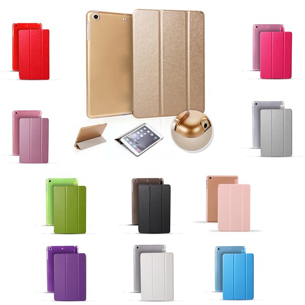 Ultra Thin PU Leather Case for Ipad 4 Silk Pattern Smart Cover Magnetic Cover with Sleep Wake For ipad Air 2 ipad pro