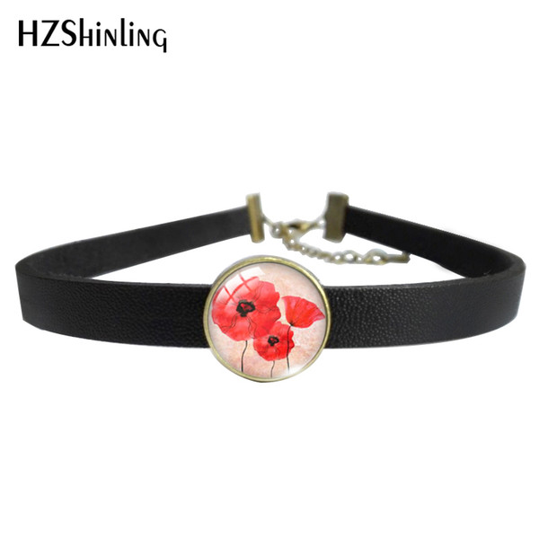 2019 New Fashion Leather Red Poppy Flower Leather Choker Necklace Glass Pendants Necklace and Bracelet Jewelry