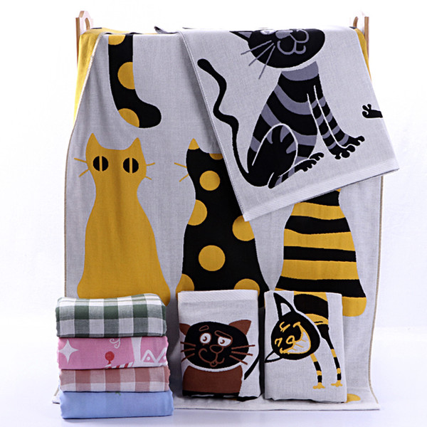 Ins Best High-quality Pure Cotton Baby Towels Kids Three Layer Gauze Bath Towel 70*140cm Child Quilts Cartoon Washcloth Healthy Facecloth