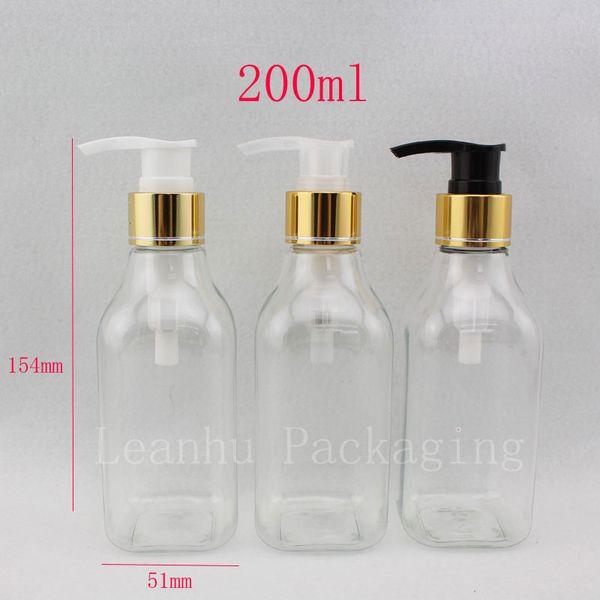 200ml X 30 botellas de champú cuadradas de cuello largo transparentes con bomba de loción de oro contenedores de botella de loción cosméticos rellenables