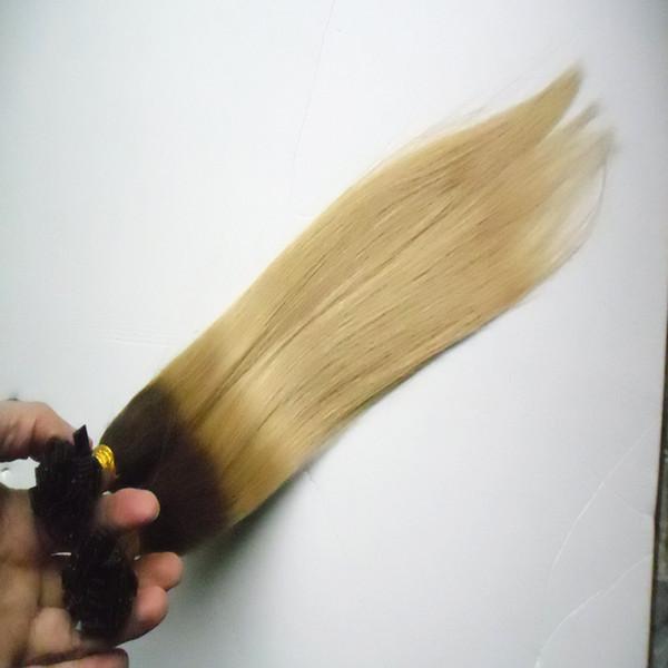 Ombre Кератиновый Fusion Nail TIP Наращивание волос 100s Два тона Virgin Ombre Индийские Прямые Волосы Remy Pre Bonded кератиновый Ногтей F TIP Hair