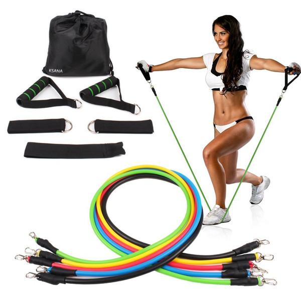Deportes al aire libre Látex Bandas de resistencia Ejercicio de ejercicio Pilates Yoga Crossfit Fitness Tubes Tire de la cuerda 11 pcs / set