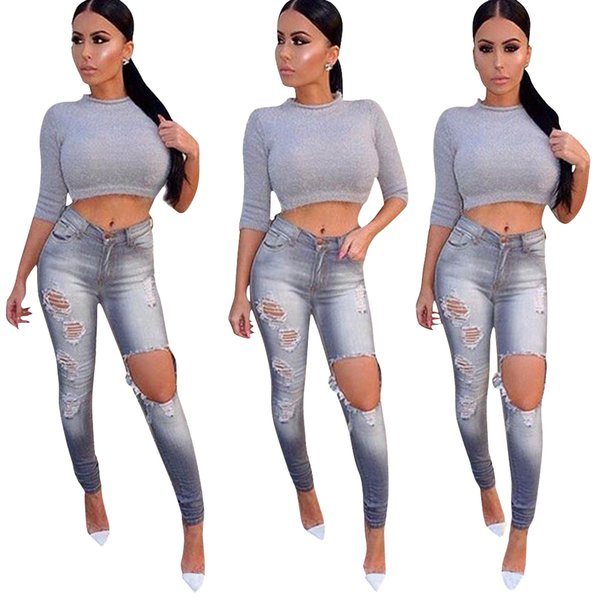 2019 Women jeans High Strength Water washed skinny jeans Ladies fashion New Style Leisure Bottom Jeans Wholesale 130#