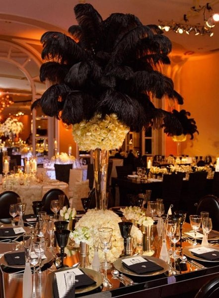 wholesale 100pcs/lot Ostrich Feather Plumes OSTRICH FEATHER black for Wedding centerpiece wedding decor coetumes party decor z134