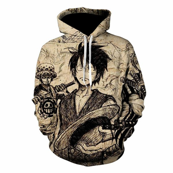 Harajuku Anime One Piece Hoodies Luffy 3D Print Jacket Men/Women Vintage Hiphop Pullovers Hat Sweatshirts Boys Retro Clothes 5XL