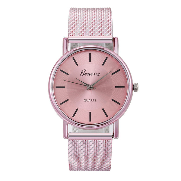 Fashion GENEVA Womens Quartz Classic Stainless Steel Wrist Watch Bracelet Watches Wristwatch Clock Gift Hot Fast Shipping