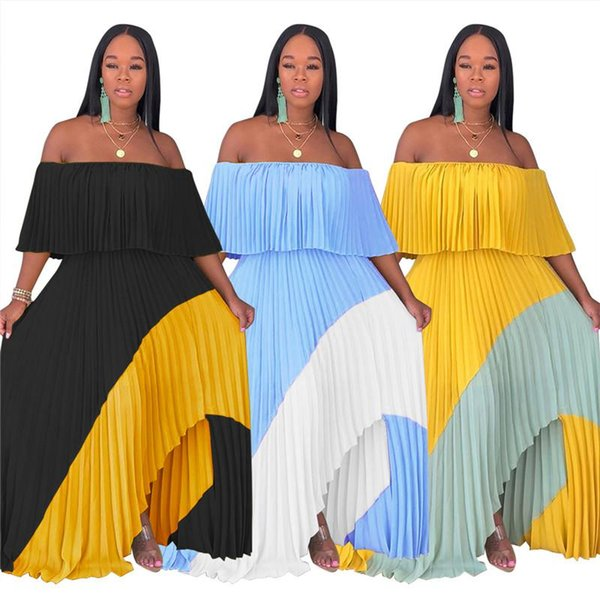 Contrast Color Spliced Sexy Pleated Dress Women Slash Neck Ruffles Sleeve Beach Dress Summer Off Shoulder Backless Party Dress N19.7-2112